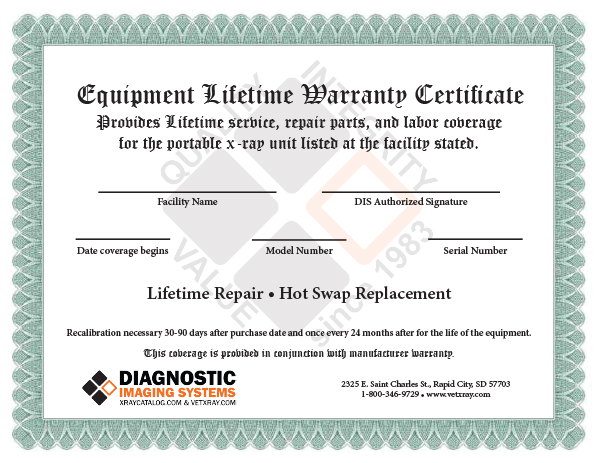 lifetime warranty certificate